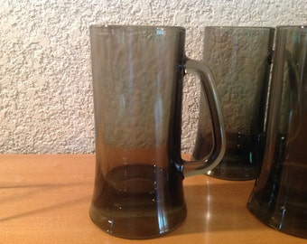 Smoky Glass Beer Mugs. Set of Six Vintage Glass Mugs.