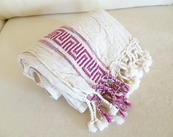 Linen,Ecru,Fuchsia Striped Peshtemal, Turkish PESHTEMAL, Hittite Designs, Spa,Bath,Beach,,Yoga,Pool,Fitness Towel