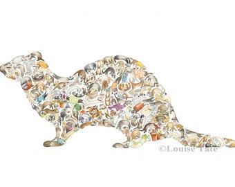 F is for Ferret - Children's Art Print, Signed