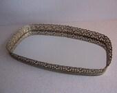 Reserved for Mrs. Dee Vintage Vanity Tray Mirror. Filagree Frame Gold Vanity Mirror, Oblong, Ornate Goldtone Framed Vanity Tray,Perfume Tray