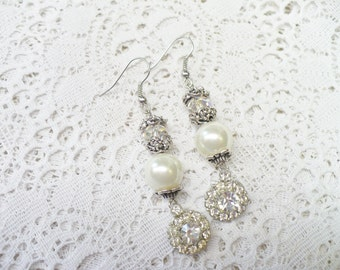 OOAK Vintage Art Deco RHINESTONE/Pearl/Aurora Borealis Crystal Earrings - Pierced  - silver tone metal - Dangle  motif - white faux pearls