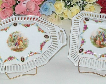 Two Vintage Made in Germany Reticulated - Open Lattice - Dishes - Victorian Couple Theme