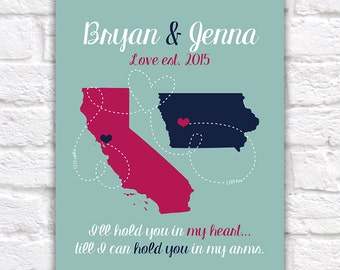 Long Distance Boyfriend Gift for Anniversary, Husband, Fiance, Deployment Military, Girlfriend or Wife, Canvas Wall Art Marines Navy