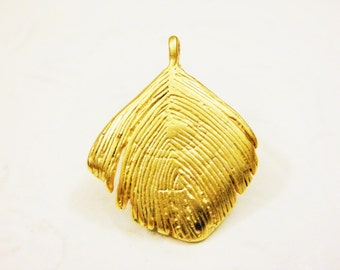 Vermeil, 18k gold over 925 sterling silver feather charm, vermeil feather, feather charm,matte gold feather.