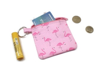 Pink flamingo coin purse, zippered pouch, change purse. Flamingo lover gift!
