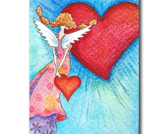 Postcard of whimsical angel with hearts colourful