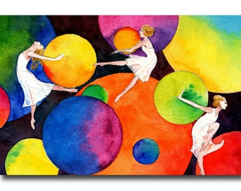 Postcard of whimsical girls dancing amongst colourful circles