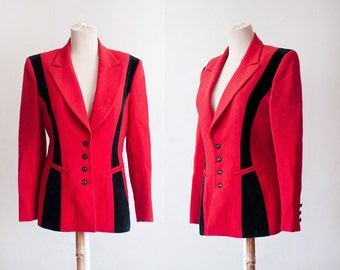 Red Vintage Jacket / Red and Black Vintage Jacket / 80's Red Jacket / Red and Black Blazer / 1980's Vintage Blazer