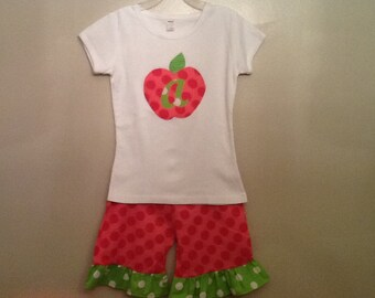 Back to school outfit ruffle shorts or Capri and top with apple with initial 2 3 4 5 6 7 8