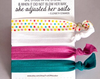 Set of four elastic hair ties - Polkadot