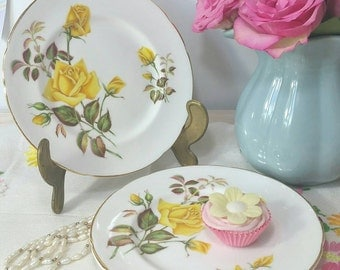 Vintage Paragon Sunset pair of tea Plates with Yellow Roses.