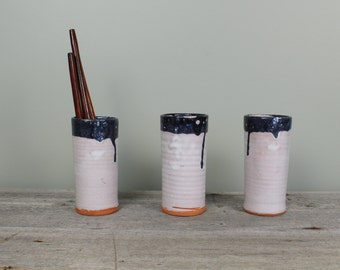 Set of 3 Vintage Hand Thrown Pottery Tumbler or Glass - Vintage Pottery Vase or Utensil Holder or Paintbrush Holder - Modern Rustic Decor