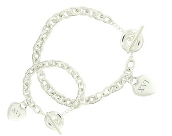 Silver Plated Sweet 16 Toggle Bracelet and Necklace Set (Free Shipping)