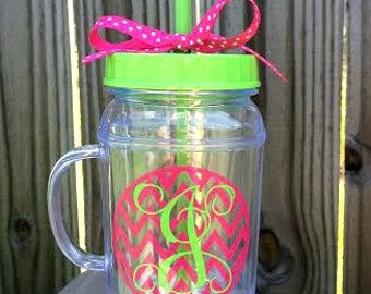 Personalized Mason Jar Tumblers with handle- monogrammed