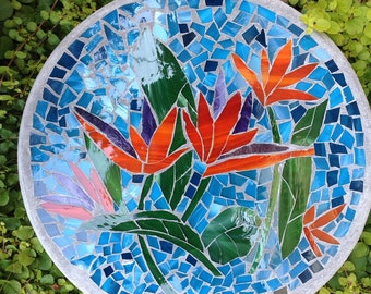 Birds of Paradise Flower Stained Glass Stepping Stone