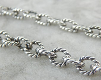 Weighty Sterling Silver Rope Link Chain With Ancient Style 4RK6EN-D