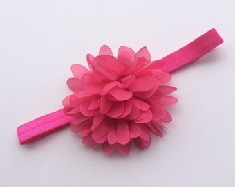 Hot pink chiffon flower headband xl chiffon flower headband large flower headband