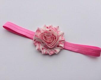 Pink hearts shabby flower headband