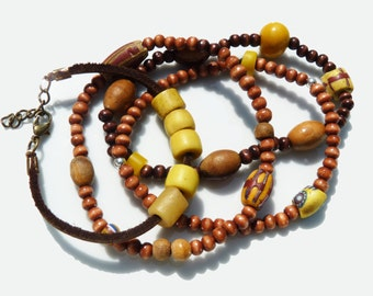 Boho Bracelets African Beads Yellow Stacking Bracelets