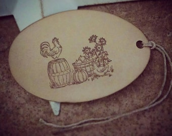 Farm Fresh- handstamped oval gift tags, roosters, sunflowers, pumpkins & apples- set of 12