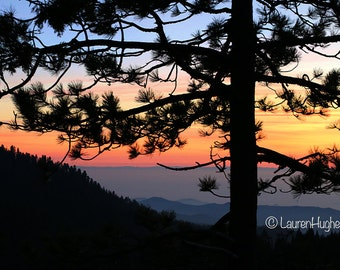 Beautiful Mountain Sunset.  Sequoia National Park, California.  Nature Photography on Canvas