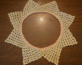 Vintage Crochet Lace Doily/Collar Pink Trim