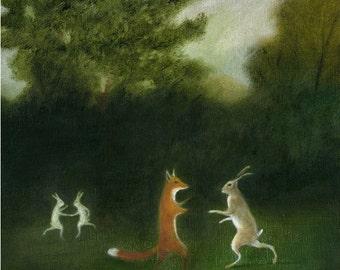 Art Print Original Animal Painting rabbit painting original rabbit art oil painting rabbit rabbits dancing art