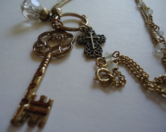 Upcycled Skeleton Key Necklace, Vintage Inspired, Recycled Necklace Unique Jewelry