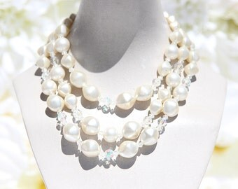 3-Tier Faux Pearl Clear Crystal Necklace
