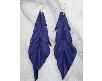 Leather Earrings | Electric Navy