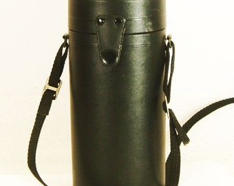 Vintage Black Leather Camera Long Lens Case By Sigma with Strap (158)