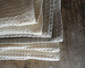 set of 3 SOFT wash cloth _ handmade from natural linen, hemp or organic cotton