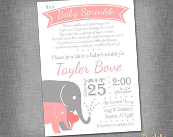 Pink and Gray Elephant Baby Sprinkle/Shower Invite