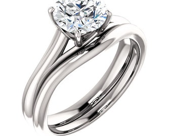 7mm Round Forever Brilliant Moissanite  14K White Gold Engagement Ring - ST554221 (Other stone options available) Certified Appraisal