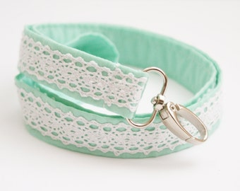 Chic Mint and Lace Fabric Lanyard - 1 Inch Wide Cute Key Lanyard - ID Badge Holder - Key Strap - Teacher Lanyard - Key Leash - Lace Lanyard
