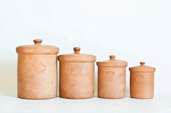 Vintage italian terracotta kitchen canisters himark italy for Italian kitchen set