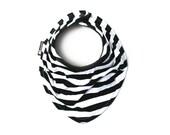 Riley Blake soft cotton jersey knit - Black/White stripes Drool Bib - Infant and/or Toddler Baby scarf - Scarf bib - Gender neutral