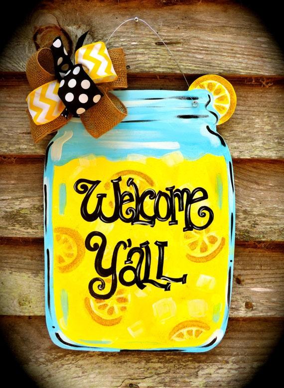 Items Similar To Lemonade Mason Jar Door Hanger On Etsy