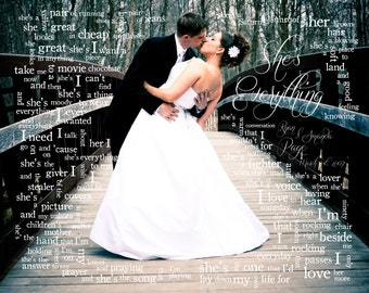 Wedding Gift: Song Lyric Art - Couple's First Dance - Made To Order - Photo Print - Anniversary Gift - 8x10