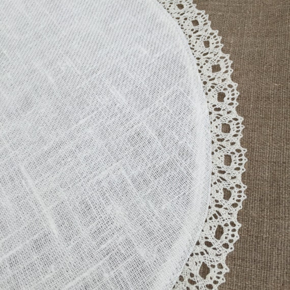 round linen doily tablecloth lace natural white. Black Bedroom Furniture Sets. Home Design Ideas