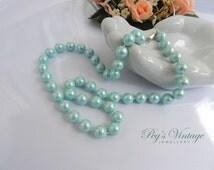 Vintage Single Strand Pastel Blue, Green Pearl Necklace/Wedding/Bridal Bead Necklace