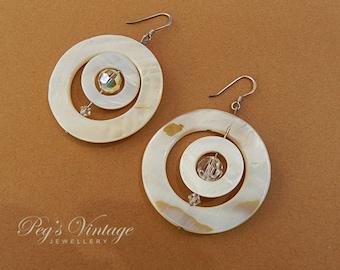 Mother of Pearl Silver Pierced Earrings, AB Crystal Earrings, Circle Shell Vintage Earrings, MOP Hoop Dangle Earrings