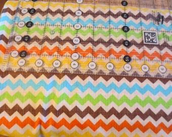 Fall colors zig zag print cotton fabric