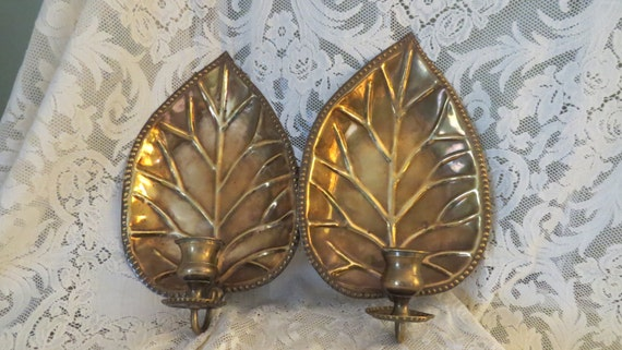 Vintage Solid Brass PALM Leaf Wall Candle Holders SALE