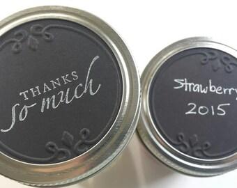 12 Embossed Almost Chalkboard Labels, Black Jar Lid Labels, Black Embossed Tags, Blank Jar Labels