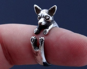 Silver Chihuahua Ring, Chihuahua Art, Chihuahua Jewelry, Chihuahua Charm, Dog Ring, Animal Ring, Adjustable Ring, Chihuahua Dog, Dog Art