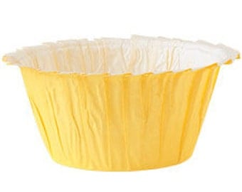 Bake Cups Yellow Ruffled Edge, Cupcake Yellow Muffin Cups, Standard Baking Cups, Birthday, Cupcake Party Supplies
