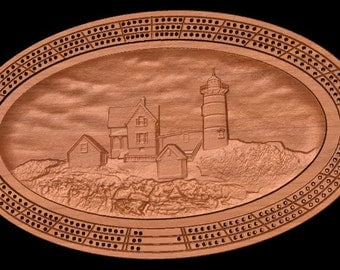 Nubble Lighthouse Cribbage Board