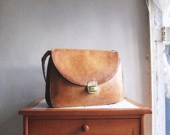 SALE Vintage tan leather satchel handbag shoulder cross body messenger bag