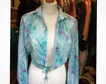 70's Boho Floral Tie Top